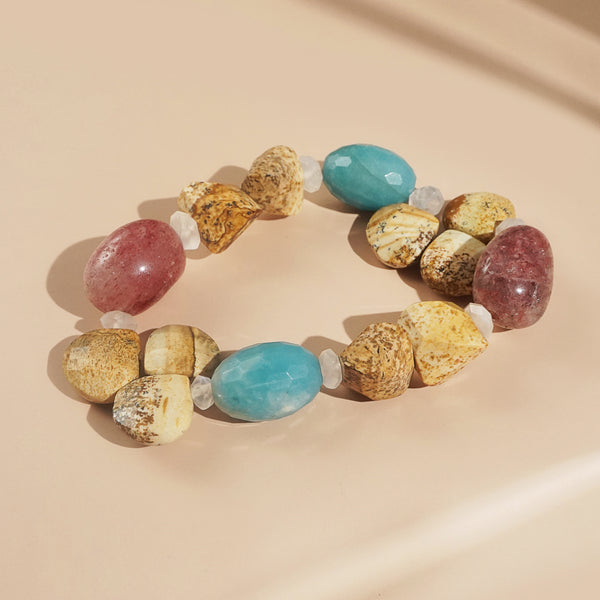 Wood Opalite, Amazonite, and Muscovite Mixed Gemstones