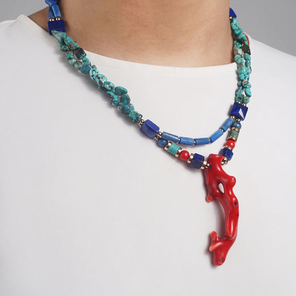 Lapis Lazuli, Turquoise, Coral, Gold-Plated Hematite