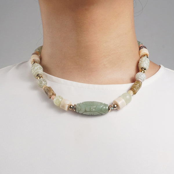 Carved Nephrite Jade, Agate, Mother of Pearl & Gold-Plated Hematite