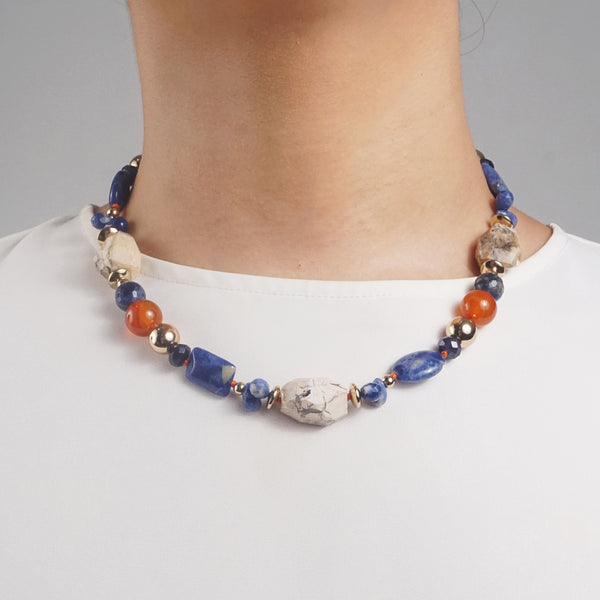 Ivory Opal, Sodalite, Dumortierite, Carnelian, and Gold-Plated Hematite