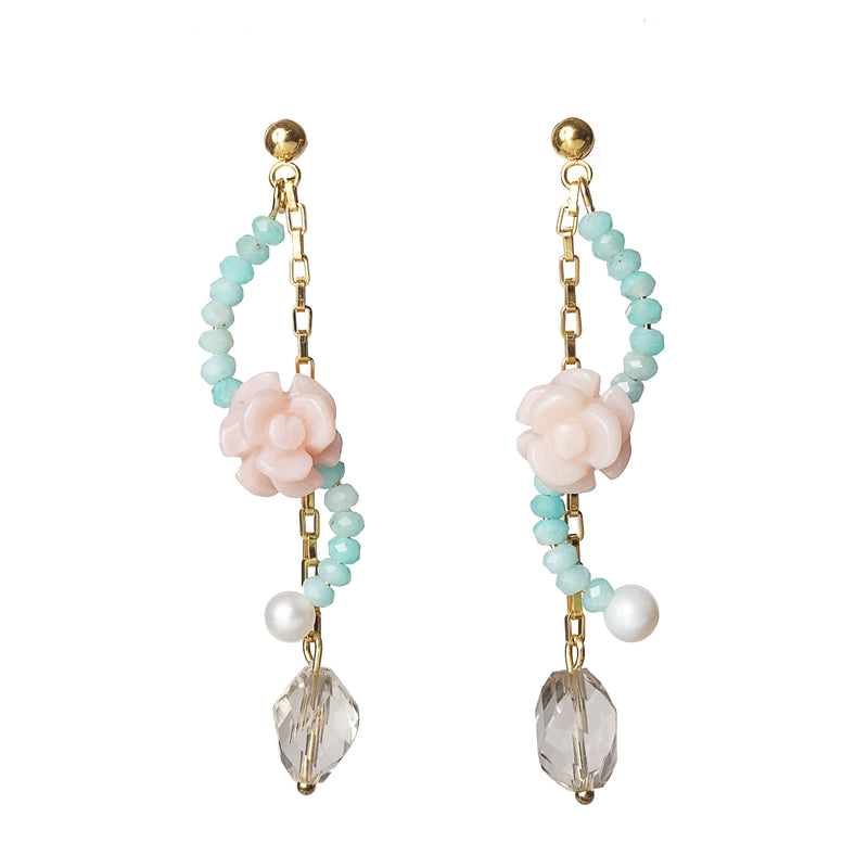 Carved Pink Opal Flower, Amazonite, Freshwater Pearl, and Clear Quartz - Gaea | Crystal Jewelry & Gemstones (Manila, Philippines)