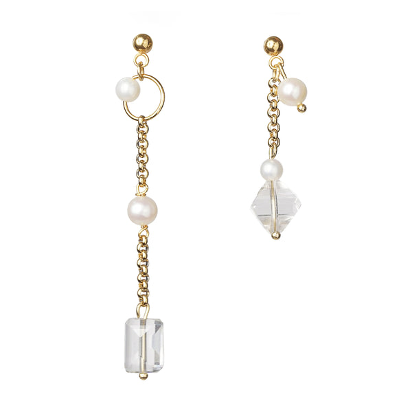 Asymmetrical Japanese Pearl and Clear Quartz Drop - Gaea | Crystal Jewelry & Gemstones (Manila, Philippines)