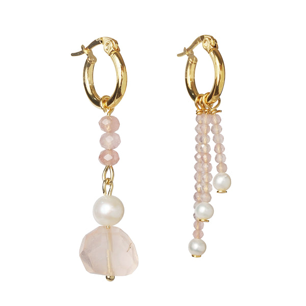 Asymmetrical Rose Quartz and Freshwater Pearl - Gaea | Crystal Jewelry & Gemstones (Manila, Philippines)