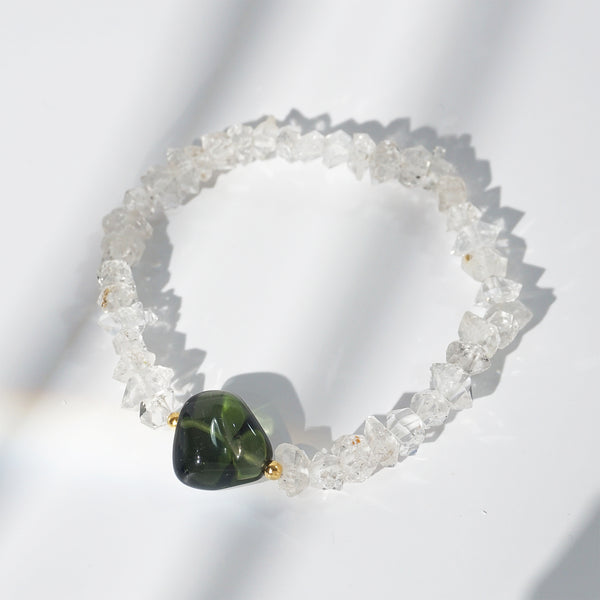 Polished Moldavite with Herkimer Diamond - Gaea | Crystal Jewelry & Gemstones (Manila, Philippines)