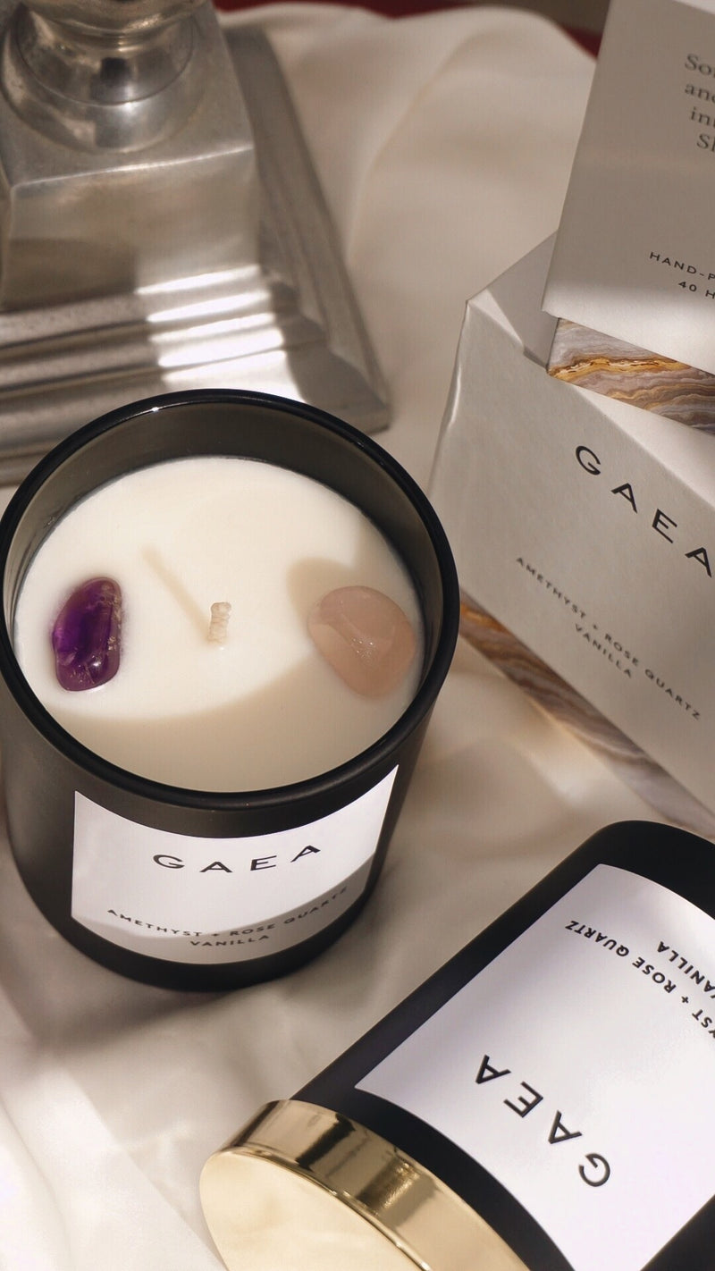 Amethyst + Rose Quartz Candle - Gaea | Crystal Jewelry & Gemstones (Manila, Philippines)