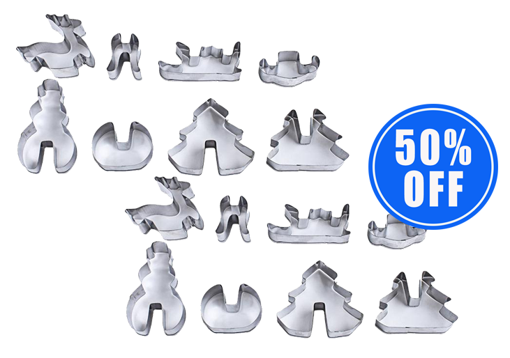 1 x 3D Christmas Cookie Cutters (8-Piece Set) + 1 Set 50% OFF