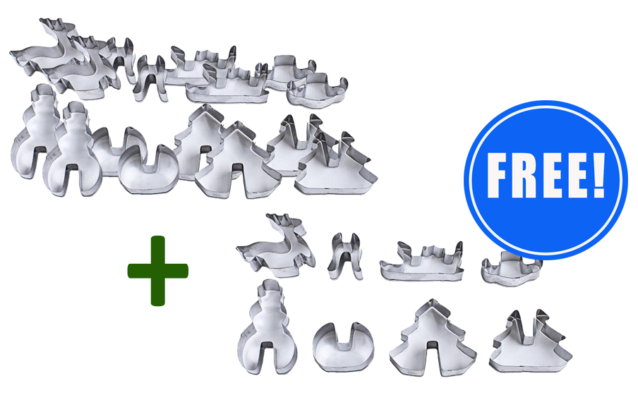2 x 3D Christmas Cookie Cutters (8-Piece Set) + 1 Set FREE!