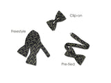 "Bow Tie ""Sweetie"" - Black / Grey Silk Bow Tie for Men - Made in USA"
