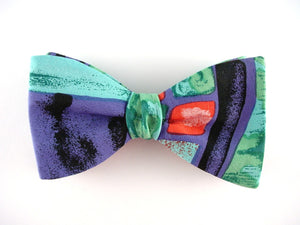 Hand painted silk bow tie in black, purple, green, pink, red
