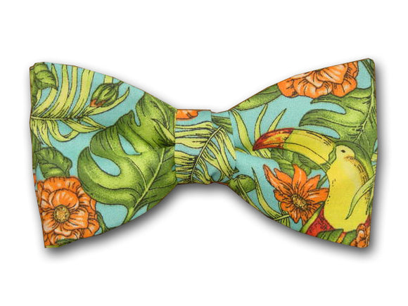Toucan Bird Bow Tie. Tropical Flowers and Leaf