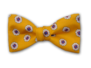 Yellow Bow Tie with White Flower.