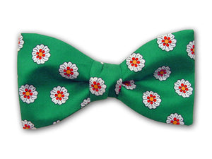 small white and red flowers on green. Men's pure silk bow tie.