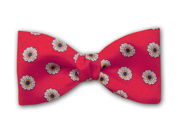 Red Men's Bow Tie. Small white flowers on red.