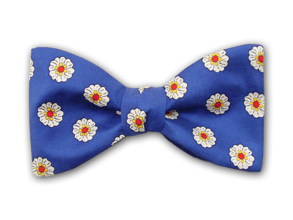 Blue Bow Tie. Flower Silk Bowties for Men.
