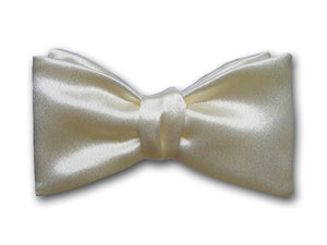 Solid Ivory Silk Bow Tie. Formal Bowtie for Men.