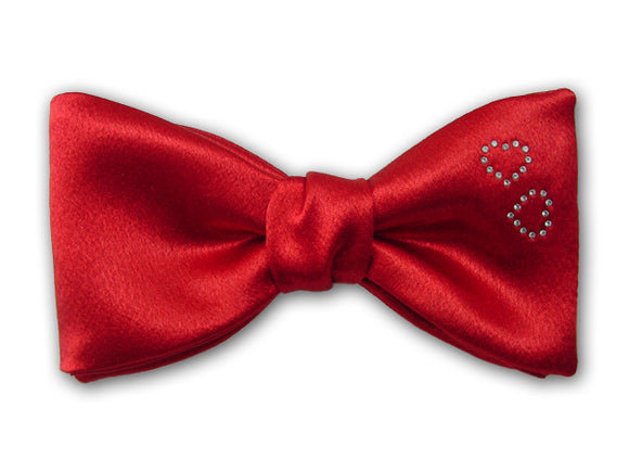 Red Silk Bow Ties With Two White Swarovski Hearts. Valentine's Mens Accessory.