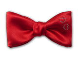 Valentine's Day Bow Tie with Swarovski Hearts. Red Bow Tie for Men.