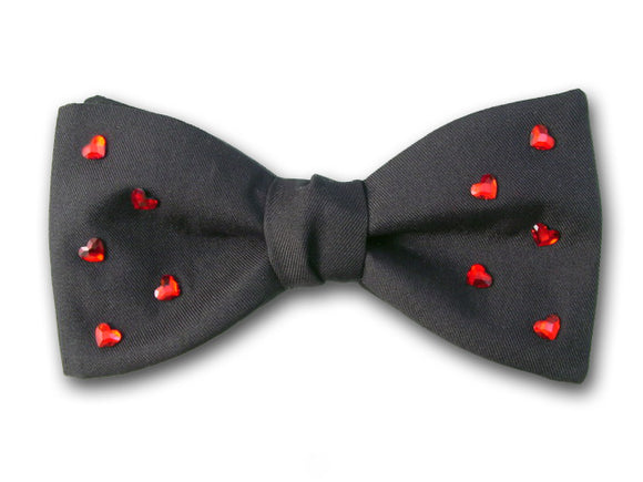 Valentine's Black Silk Bow Tie With Swarovski Red Hearts.