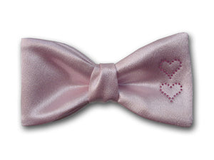 Pink Silk Bow Tie With Pink Swarovski Hearts.