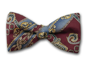 Burgundy bow tie. Abstract design bow tie.