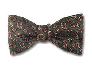 Olive Green Paisley Bow Tie.