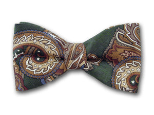 "Bow Tie ""Green Paisley"" - Green Silk Bowtie - Men,s Bow Ties - Hand Made in USA"