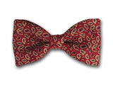 Small gold paisly on red. Men's silk twill bowtie.