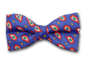 Red, gold, white and green paisley on blue. Men's silk twill bow tie.