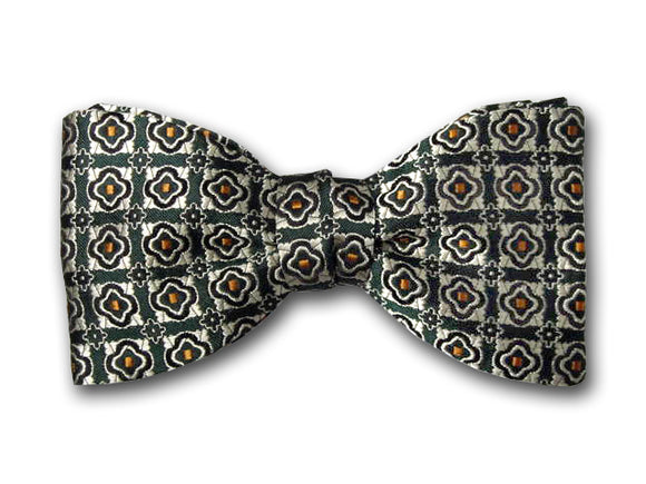 Green patterned bow tie. Luxury Small Pattern Bow Tie for Men.