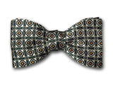 Green Patterned Bow Tie. Luxury Bow Tie for Men.