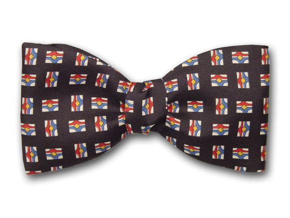 Black Men's Silk Bow Tie. Small Patterns on Black.