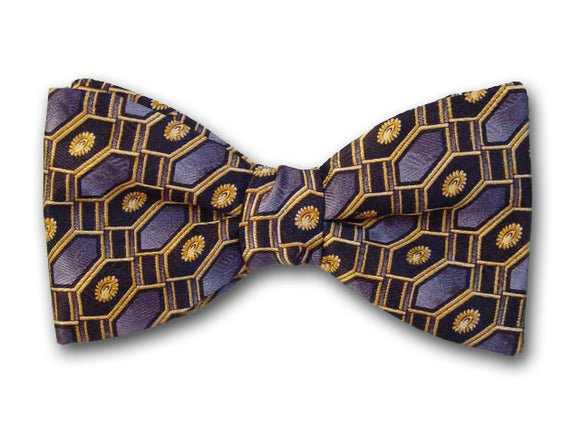 Grey Gold & Black Silk Bow Tie for Men.
