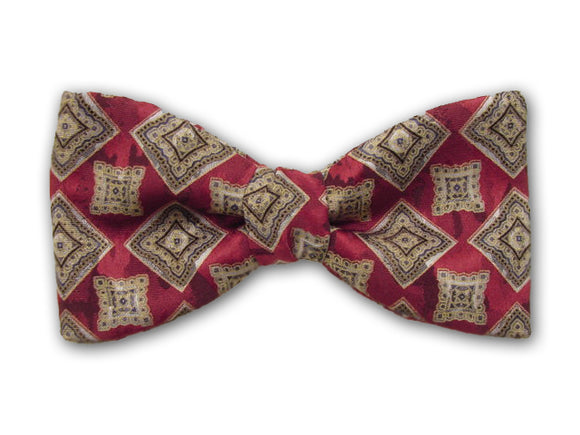 Burgundy silk men's bow tie.