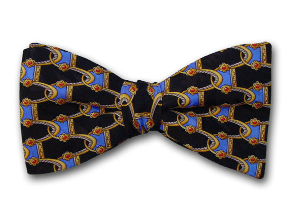 Patterned bow tie. Black silk bow tie for men.