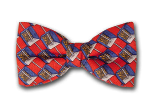 Blue and white cube on red. Silk men's bowtie.