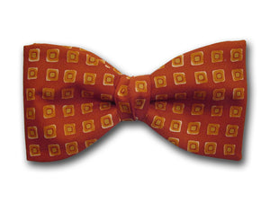 Burnt orange and yellow bow tie. Silk men's accessory.