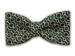 Green, yellow on black. Patterned silk bow tie for men.
