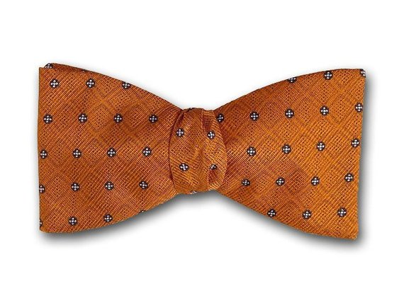 Orange and black bow tie. Silk bow tie for men.