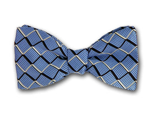 Blue, navy and white plaid bow tie.