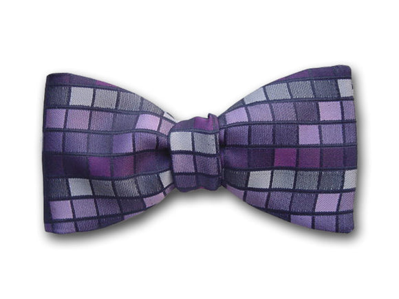 Purple, violet, black and gray mosaic pattern. Woven silk bow tie.