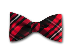 Red, Black and White Plaid Bow Tie for Men.