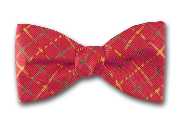 Silk Men's Bow Tie. Yellow and Green Plaid on Coral.