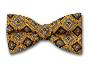Blue and Black Plaids on Gold. Bow Tie for Men.