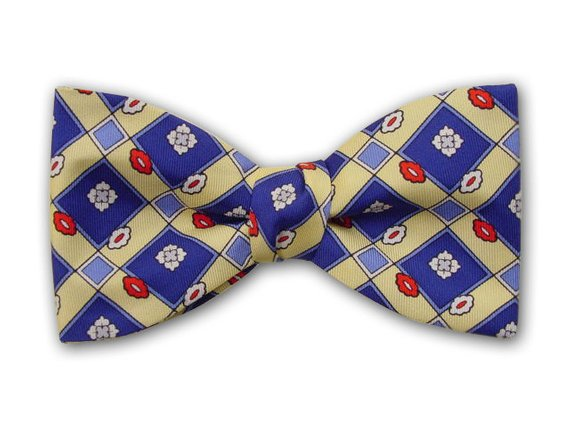 Royal blue squares on yellow. Pure silk men's bow tie.