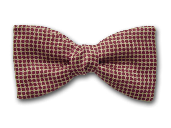 Burgundi small dots on beige. Pure silk bow tie for men.