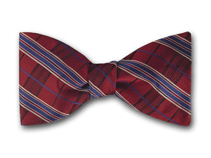 Striped Silk Bow Tie.  Burgundy, Blue and Grey Bow Ties.
