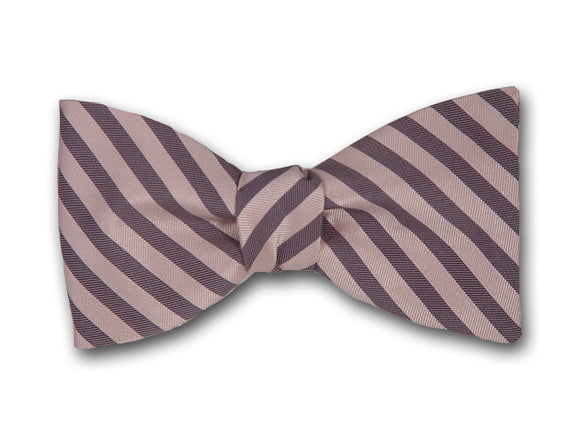 Striped Silk Bow Tie. Light Coral and Grey Stripes.
