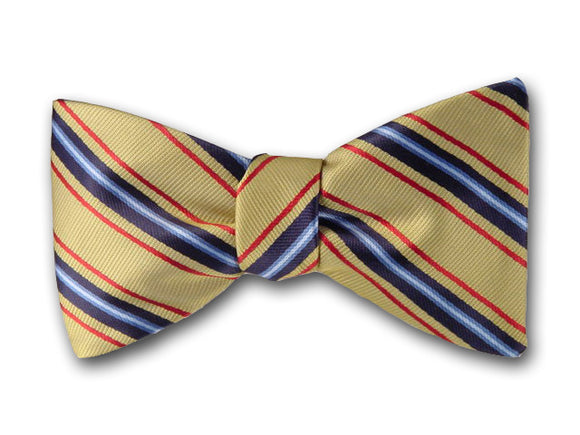 Navy, red and blue on yellow men's bow tie.