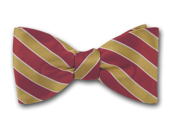 Red and yellow stripes bow tie for men.