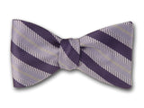 Navy and Blue Striped Bow Tie. Woven Silk Bowties.